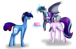Size: 6333x4140 | Tagged: absurd res, alicorn, alicorn oc, artist:moonlight0shadow0, bat pony, bat pony alicorn, bat pony oc, birthday cake, cake, commission, cute, female, flying, food, glasses, glowing horn, horn, male, mare, oc, oc:elizabat stormfeather, oc:marquis majordome, plate, pony, raised hoof, safe, simple background, stallion, starlight glimmer, transparent background, unicorn