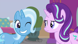Size: 1280x720 | Tagged: a horse shoe-in, chinese, female, mare, one eye closed, pony, safe, screencap, spoiler:s09e20, starlight glimmer, subtitles, trixie, unicorn, wink