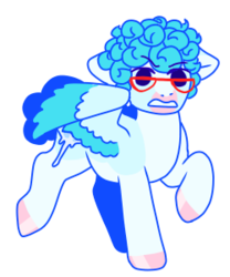 Size: 250x300 | Tagged: safe, artist:guidomista, artist:miiistaaa, artist:nijimillions, derpibooru exclusive, pegasus, pony, accessories, accessory, angry, anime, blue, chibi, colored wings, curls, curly hair, curly mane, cute, ghiaccio, glare, glasses, gritted teeth, hooves, ice, ice cube, jjba, jojo, jojo's bizarre adventure, male, multicolored wings, pink, ponified, short tail, simple background, solo, stallion, standing, transparent, transparent background, two toned wings, vento aureo, walking, wings