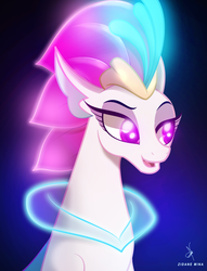 Size: 2200x2880 | Tagged: artist:zidanemina, bust, my little pony: the movie, neon, neon colors, portrait, queen novo, safe, seapony (g4), solo