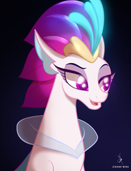 Size: 2200x2880 | Tagged: artist:zidanemina, bust, looking sideways, my little pony: the movie, portrait, queen novo, safe, seapony (g4), smiling, solo, spoilers:my