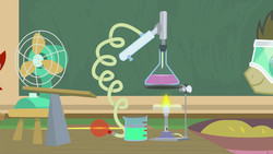 Size: 1920x1080 | Tagged: 2019, a horse shoe-in, balloon, beaker, china, doctor whooves, early, earth pony, fans, fire, friendship school, inflating, pony, rube goldberg machine, safe, safety goggles, science, screencap, spoiler:s09e20, summer, time turner
