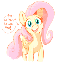 Size: 1119x1196 | Tagged: safe, artist:mickeymonster, fluttershy, pegasus, pony, bronybait, cute, dialogue, female, folded wings, full face view, looking at you, mare, open mouth, shyabetes, simple background, smiling, solo, speech bubble, standing, weapons-grade cute, white background, wings