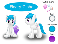 Size: 2726x2071 | Tagged: artist:bladedragoon7575, balloon, beach ball, bubble, bubblegum, cutie mark, food, gum, male, oc, oc:floaty globe, oc only, pegasus, pony, reference sheet, safe, simple background, solo, stallion, transparent background, wing hold