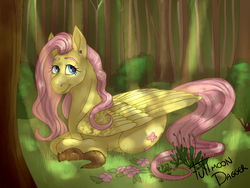 Size: 2658x2000   Tagged: safe, artist:fullmoondagger, fluttershy, pegasus, pony, squirrel, crepuscular rays, dappled sunlight, female, flower, folded wings, forest, looking at you, mare, outdoors, prone, smiling, solo, three quarter view, wings