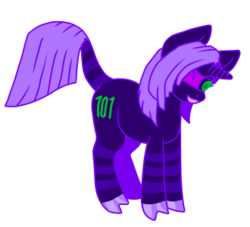 Size: 330x300 | Tagged: safe, artist:guidomista, artist:miiistaaa, artist:nijimillions, derpibooru exclusive, pony, unicorn, accessories, anime, binary code, blindfold, chibi, clothes, cloven hooves, crossover, cute, dark blue, fullbody, green eyes, hair over one eye, hooves, hooves together, horn, jjba, jojo, jojo's bizarre adventure, la squadra, leonine tail, male, melone, ponified, purple, raised tail, ringed tail, simple background, smiling, solo, stallion, standing, straight hair, straight mane, stripes, tail, transparent background, vento aureo