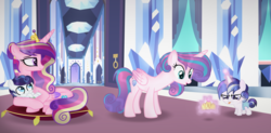 Size: 3776x1864 | Tagged: alicorn, artist:alizeethepony2008, baby, baby pony, crown, jewelry, magic, offspring, older, parent:princess cadance, parent:shining armor, parents:shiningcadance, pony, princess cadance, princess flurry heart, prone, regalia, safe