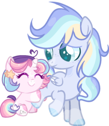 Size: 866x1001 | Tagged: artist:moon-rose-rosie, artist:thesmall-artist, baby, baby pony, base used, collaboration, colt, female, foal, freckles, hug, male, oc, oc:astral breeze, oc:celestial moon, pegasus, pony, safe, smiling, unicorn
