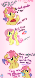 Size: 1089x2400 | Tagged: :3, accurate, artist:rainbow eevee, box, comic, cute, derp, derpibooru exclusive, dialogue, example, faic, female, filly, first time, fluttershy, grammar error, hair tie, happy meal, hoof hold, implied cannibalism, implied violence, kettle corn, majestic, majestic as fuck, mcdonald's, mcdonald's happy meal toys, mcdonalds swag, obsession, pink background, pony, rainbow dash, safe, simple background, story, text, toy, underhoof, wat