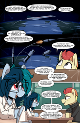 Size: 1080x1649 | Tagged: artist:shinodage, chin fluff, clothes, comic, comic:delta vee's junkyard, concorde, cute, delta vee's junkyard, dialogue, female, glasses, male, mare, oc, oc:delta vee, oc:jet stream, oc only, pegasus, plane, pony, rocket, safe, saturn v, sitting, smiling, speech bubble, stallion, sweater, table, turtleneck