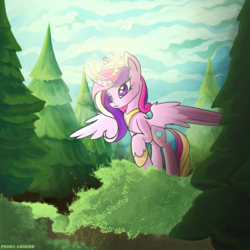 Size: 2500x2500 | Tagged: alicorn, artist:pedrohander, forest, princess cadance, safe, solo, spread wings, wings
