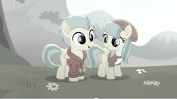 Size: 1366x770   Tagged: safe, screencap, barley barrel, pickle barrel, pony, rainbow roadtrip, barleybetes, barrel twins, barrelbetes, brother and sister, cute, desaturated, discovery family logo, female, flower, grass, grayscale, male, monochrome, picklebetes, siblings, twins