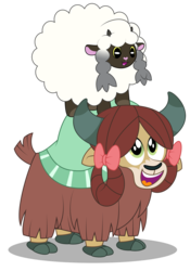 Size: 3000x4286 | Tagged: safe, artist:aleximusprime, yona, lamb, sheep, wooloo, yak, crossover, cute, duo, open mouth, pokemon sword and shield, pokémon, yonadorable