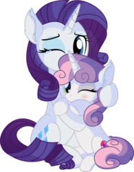 Size: 5959x7654 | Tagged: absurd res, artist:cyanlightning, blushing, cute, cutie mark, duo, ear fluff, eyeshadow, female, filly, holding, hug, makeup, mare, one eye closed, pony, rarity, safe, siblings, simple background, sisters, sitting, smiling, .svg available, sweetie belle, teary eyes, the cmc's cutie marks, transparent background, unicorn, vector