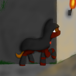 Size: 1000x1000 | Tagged: safe, artist:shoophoerse, oc, earth pony, pony, armor, atg 2019, cloak, clothes, greaves, newbie artist training grounds, solo