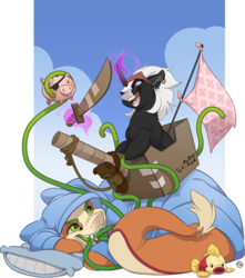 Size: 1919x2175 | Tagged: artist:kez, ear piercing, earring, flag, gold tooth, jewelry, magic, mlems, monster pony, oc, oc:non toxic, oc:s.leech, original species, piercing, piggy bank, pirate, pretend, safe, sword, tatzel, tatzlpony, tentacles, unicorn, weapon