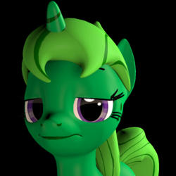 Size: 1000x1000 | Tagged: 3d, artist:sashagemini, female, mare, oc, oc:lime dream, oc only, pony, safe, source filmmaker, unicorn, unimpressed