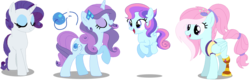 Size: 1264x410 | Tagged: alternate version, amputee, artist:awoomarblesoda, base used, female, filly, kerfuffle, lesbian, magical lesbian spawn, mare, oc, oc:firefly, oc:sapphire silk, offspring, parent:kerfuffle, parent:rarity, parents:rarifuffle, pegasus, pony, prosthetic leg, prosthetic limb, prosthetics, rainbow roadtrip, rarifuffle, rarity, safe, shipping, short mane, simple background, spoiler:rainbow roadtrip, transparent background, unicorn