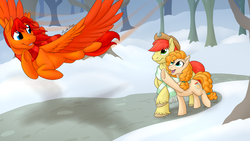 Size: 1280x720 | Tagged: artist:mythpony, brightbutter, bright mac, clothes, female, flying, male, oc, oc:goldenfox, pear butter, pegasus, pony, safe, scarf, shipping, snow, stallion, straight