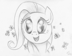 Size: 6216x4872   Tagged: safe, artist:flutterstormreturns, fluttershy, butterfly, pegasus, pony, amazed, bust, eye reflection, female, filly, filly fluttershy, full face view, monochrome, open mouth, reflection, smiling, so many wonders, solo, traditional art, younger