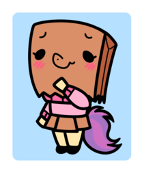 Size: 500x600 | Tagged: safe, oc, oc:paper bag, anthro, blushing, chibi, clothes, cute, female, mare, miniskirt, moe, ocbetes, paper bag, pleated skirt, shoes, skirt, sweater