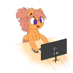 Size: 1000x1000 | Tagged: safe, artist:shoophoerse, oc, oc:shoop, pegasus, pony, atg 2019, computer mouse, computer screen, keyboard, newbie artist training grounds, solo