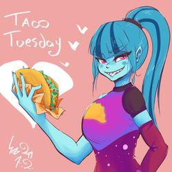 Size: 1000x1000 | Tagged: safe, artist:sozglitch, sonata dusk, equestria girls, female, solo, taco tuesday