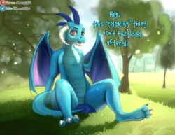 Size: 2433x1883 | Tagged: artist:mercurial64, claws, covering, dialogue, dragon, dragoness, female, grass, horns, looking at you, patreon, patreon logo, princess ember, safe, sitting, smiling, solo, strategically covered, tree