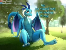 Size: 2433x1883 | Tagged: artist:mercurial64, chillaxing, claws, dialogue, dragon, dragoness, featureless crotch, female, grass, horns, looking at you, patreon, patreon logo, princess ember, safe, sitting, smiling, solo, tree