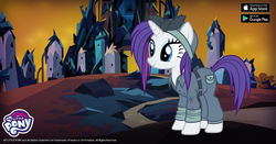 Size: 1200x630 | Tagged: safe, rarity, pony, unicorn, the cutie re-mark, alternate hairstyle, alternate timeline, clothes, crystal war timeline, dark crystal, female, gameloft, mare, my little pony logo, rarity the riveter, solo, sombraverse, uniform