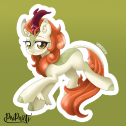 Size: 900x900   Tagged: safe, artist:piripaints, autumn blaze, kirin, sounds of silence, awwtumn blaze, blushing, cloven hooves, cute, female, green background, horn, jumping, leg fluff, looking at you, signature, simple background, smiling, solo