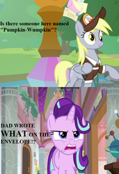 Size: 615x900 | Tagged: a matter of principals, angry, cropped, derpy hooves, dialogue, edit, edited screencap, envelope, hat, implied firelight, mailmare hat, mailpony uniform, safe, school of friendship, screencap, spoiler:s09e05, starlight glimmer, the point of no return, uh oh