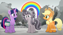 Size: 1366x768 | Tagged: safe, screencap, applejack, petunia petals, twilight sparkle, alicorn, earth pony, pony, rainbow roadtrip, colored, confused, cute, desaturated, discovery family logo, female, grayscale, hope hollow, jackabetes, mare, monochrome, petalbetes, rainbow, saddle bag, trio, twiabetes, twilight sparkle (alicorn)
