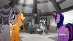 Size: 1366x768 | Tagged: safe, screencap, applejack, petunia petals, torque wrench, twilight sparkle, alicorn, earth pony, pony, rainbow roadtrip, atorqueable, cabinet, cute, desaturated, desk, discovery family logo, drawer, female, grayscale, jackabetes, lamp, mare, monochrome, petalbetes, rainbow generator, twiabetes, twilight sparkle (alicorn), workshop