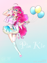 Size: 1536x2048 | Tagged: artist:莫洛墨, balloon, clothes, cute, female, human, humanized, miniskirt, moe, pinkie pie, pleated skirt, safe, shoes, skirt, socks, solo, striped socks, thigh highs, thighs