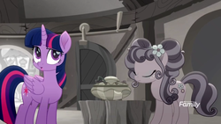 Size: 1366x768 | Tagged: alicorn, desaturated, discovery family logo, duo, duo female, earth pony, female, grayscale, mare, monochrome, petunia petals, pony, rainbow generator, rainbow roadtrip, safe, screencap, sliding doors, spoiler:rainbow roadtrip, tree stump table, twilight sparkle, twilight sparkle (alicorn), workshop