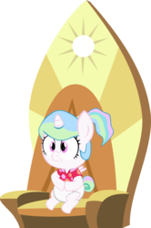 Size: 5118x7728 | Tagged: age regression, artist:megarainbowdash2000, baby, baby pony, between dark and dawn, cewestia, diaper, female, filly, foal, pony, princess celestia, safe, simple background, solo, spoiler:s09e13, throne, transparent background, younger