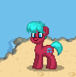 Size: 624x628 | Tagged: artist:oc:windsweeper, beach, derpibooru exclusive, oc, oc only, oc:windsweeper, pony, pony town, safe, water