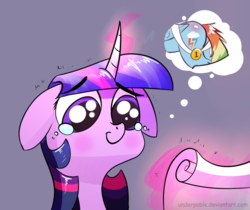 Size: 1200x1006 | Tagged: artist:underpable, bust, butt, cropped, crying, edit, female, floppy ears, glowing horn, horn, lesbian, magic, mare, medal, plot, pony, rainbow dash, safe, scroll, shipping, simple background, smiling, solo, telekinesis, thought bubble, twidash, twilight sparkle