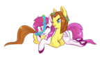 Size: 2000x1200 | Tagged: safe, artist:hippykat13, oc, oc only, oc:heartbeat, oc:michpone, earth pony, pegasus, pony, :p, couple, cuddling, cute, floral head wreath, flower, frog (hoof), hooves, one eye closed, simple background, tongue out, transparent background, underhoof, wink