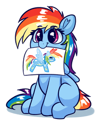 Size: 1965x2501 | Tagged: safe, artist:graphene, rainbow dash, pegasus, pony, :t, atg 2019, blank flank, clothes, cute, daaaaaaaaaaaw, dashabetes, drawing, eye clipping through hair, featured image, female, filly, filly rainbow dash, hnnng, mouth hold, newbie artist training grounds, simple background, sitting, smiling, solo, uniform, weapons-grade cute, white background, wonderbolts uniform, younger