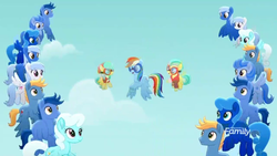 Size: 1366x768 | Tagged: barley barrel, barrel twins, blue, blue pony, cloud, crowd, discovery family logo, flying, goggles, pickle barrel, rainbow dash, rainbow roadtrip, safe, screencap, siblings, sky, spoiler:rainbow roadtrip, twins