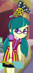 Size: 293x650 | Tagged: safe, screencap, juniper montage, equestria girls, mirror magic, spoiler:eqg specials, angry, cash register, clothes, cropped, glasses, hat, mirror, theater, uniform