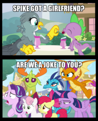 Size: 932x1153 | Tagged: alicorn, am i a joke to you?, apple bloom, caption, changedling, changeling, cherry, comic, dragon, dragon dropped, edit, edited screencap, emberspike, female, food, gabby, gay, image macro, implied emberspike, implied gay, implied interspecies, implied shipping, implied sparlight, implied spikebelle, implied spikebloom, implied spolder, implied straight, implied thoraxspike, implied twispike, interspecies, king thorax, male, princess ember, safe, screencap, screencap comic, shipping, shipping denied, smolder, spabby, sparlight, spike, spikebelle, spikebloom, spoiler:s09e19, spolder, starlight glimmer, straight, sweetie belle, text, thorax, thoraxspike, twilight sparkle, twilight sparkle (alicorn), twispike, winged spike