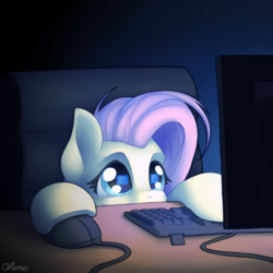 Size: 2000x2000 | Tagged: artist:ohemo, atg 2019, chair, computer, computer mouse, cute, dark room, desk, ear fluff, female, fluttershy, keyboard, monitor, newbie artist training grounds, pegasus, pony, puppy dog eyes, safe, shyabetes, solo