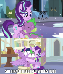 Size: 870x1020 | Tagged: a horse shoe-in, alicorn, bear hug, crystal empire, dragon, edit, edited screencap, floppy ears, hug, meme, pony, safe, screencap, special eyes, spike, spikelove, spoiler:s09e20, squeeze, squishy, starlight glimmer, text edit, the crystalling, twilight sparkle, twilight sparkle (alicorn), unicorn, winged spike, wings