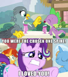 Size: 610x686 | Tagged: safe, edit, edited screencap, screencap, gabby, spike, starlight glimmer, sunburst, trixie, dragon, a horse shoe-in, dragon dropped, spoiler:s09e19, spoiler:s09e20, crying, female, jealous, love triangle, male, obi wan kenobi, phyllis no!, sad, screencap comic, shipping, spabby, sparlight, star wars, straight, text, winged spike