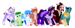 Size: 1300x495 | Tagged: accessories, accessory, anime, artist:guidomista, artist:miiistaaa, artist:nijimillions, black hair, black mane, blaze (coat marking), blonde hair, blonde mane, blue, blue hair, blue mane, brown hair, brown mane, clothes, cloven hooves, coat, crossover, earth pony, formaggio, friends, friendship, frown, gang, gangsta, gangster, gelato, ghiaccio, ginger, goth, gray, green, green hair, green mane, group, group picture, hat, height difference, hooves, horn, illuso, jacket, jjba, jojo, jojo's bizarre adventure, la squadra, leonine tail, looking at each other, male, markings, melone, orange hair, orange mane, pesci, ponified, pony, prosciutto, purple, purple hair, purple mane, risotto nero, safe, sitting, smiling, socks (coat marking), sorbet, sorbet and gelato, splotches, spots, spotted, stallion, standing, striped, stripes, tail wrap, teal, trenchcoat, two toned wings, unicorn, vento aureo, white hair, white mane, wings, yellow