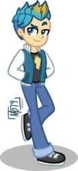 Size: 1258x2752 | Tagged: artist:tassji-s, clothes, equestria girls, equestria girls-ified, gallus, hands in pockets, human, jacket, jeans, male, pants, safe, shoes, simple background, solo, transparent background