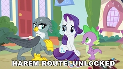 Size: 1920x1080 | Tagged: safe, edit, edited screencap, screencap, gabby, rarity, spike, dragon, griffon, dragon dropped, caption, female, harem, implied polyamory, interspecies, male, shipping, spabby, sparity, spike gets all the mares, straight, text, winged spike